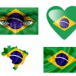 Set of various Brazil flags — Stock Photo