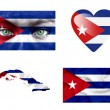 Set of various Cuba flags - Stock Photo