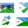 Set of various Djibouti flags — Stock Photo #12192091