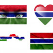 Set of various Gambia flags — Stock Photo