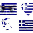 Set of various Greece flags — Stock Photo
