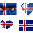 Set of various Iceland flags — Stock Photo