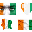 Stock Photo: Set of various Ivory Coast flags
