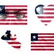 Set of various Liberia flags — Stock Photo