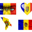 Stock Photo: Set of various Moldaviflags
