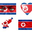 Set of various North Korea flags — Stock Photo