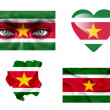 Set of various Suriname flags — Stock Photo
