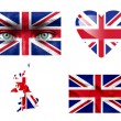 Set of various United Kingdom flags — Stock Photo