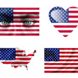 Set of various United States of America flags — Stock Photo