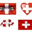 Set of various Switzerland flags — Stock Photo
