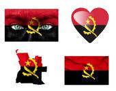 Conjunto de varias banderas de angola — Foto de Stock