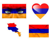 Set of various Armenia flags — Stock Photo