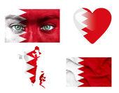Conjunto de varias banderas de bahrein — Foto de Stock