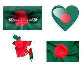 Reeks van verschillende bangladesh vlaggen — Stockfoto