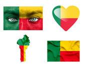 Set di varie bandiere del benin — Foto Stock