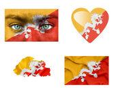 Set di varie bandiere del bhutan — Foto Stock