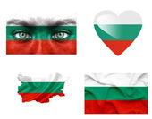 Conjunto de varias banderas de bulgaria — Foto de Stock