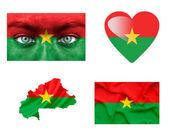 Reeks van verschillende vlaggen van burkina faso — Stockfoto