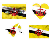 Set of various Brunei flags — Stock Photo