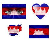 Conjunto de varias banderas de camboya — Foto de Stock