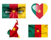 Conjunto de varias banderas de camerún — Foto de Stock