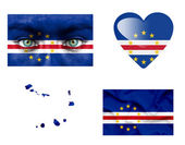 Set of various Cape Verde flags — Stock Photo