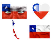 Set of various Chile flags — Stock Photo