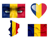 Reeks van verschillende tsjaad vlaggen — Stockfoto