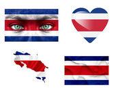 Set di varie bandiere di costa rica — Foto Stock