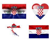 Conjunto de varias banderas de croacia — Foto de Stock