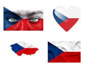 Conjunto de varias banderas de la república checa — Foto de Stock