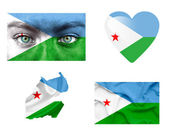 Set of various Djibouti flags — Stock Photo