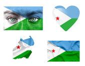 Reeks van verschillende djibouti vlaggen — Stockfoto