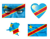 Set of various Democratic Republic of Congo flags — Stock Photo