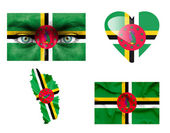 Set of various Dominica flags — Stock Photo