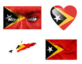 Set of various East Timor flags — Stock Photo