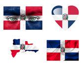 Conjunto de varias banderas de república dominicana — Foto de Stock