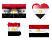 Set di varie bandiere egitto — Foto Stock