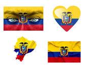 Reeks van verschillende ecuador vlaggen — Stockfoto