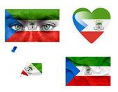 Set di varie bandiere guinea equatoriale — Foto Stock