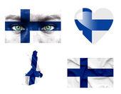Set di varie bandiere finlandia — Foto Stock