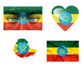 Set di varie bandiere etiopia — Foto Stock