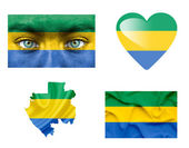 Set of various Gabon flags — Stock Photo