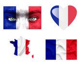Conjunto de varias banderas de francia — Foto de Stock