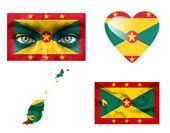 Conjunto de varias banderas de granada — Foto de Stock