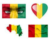 Set di varie bandiere guinea — Foto Stock