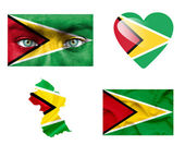 Set of various Guyana flags — Stock Photo