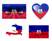 Set of various Haiti flags — Stock Photo