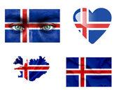 Set di varie bandiere islanda — Foto Stock