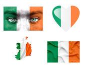 Reeks van verschillende vlaggen van ierland — Stockfoto